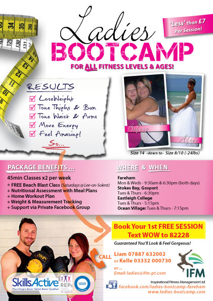 Ladies Only Bootcamp Flyer showing before & after picture, plus package details, results and locations at Fareham Eastleigh and Gosport